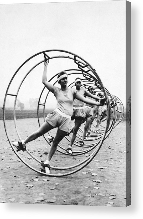 Contest Acrylic Print featuring the photograph German Women Practicing Rhonrad For A by New York Daily News Archive