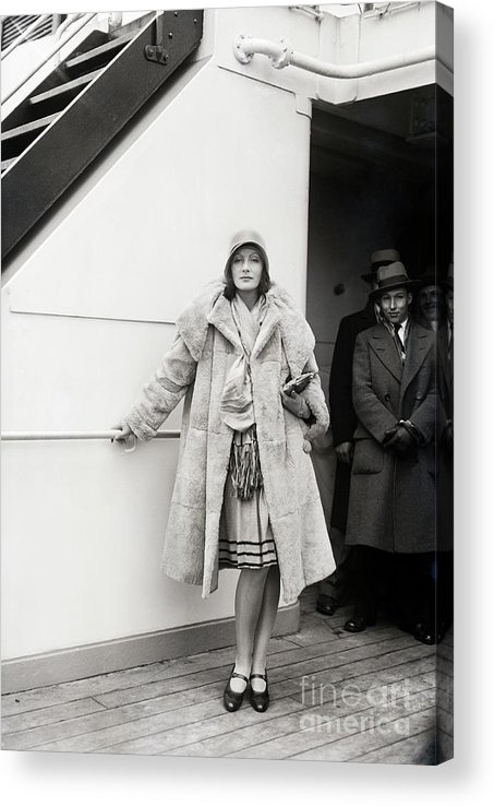 People Acrylic Print featuring the photograph Greta Garbo Sailing On Ship by Bettmann