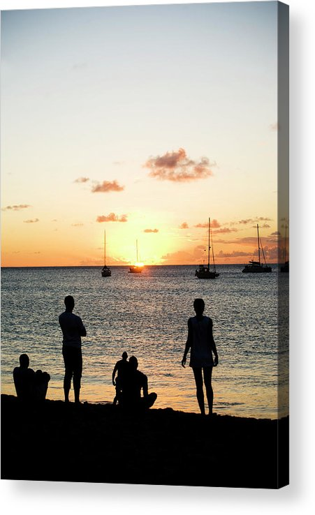 Recreational Pursuit Acrylic Print featuring the photograph Group Of Young Friends On Beach At by Jaminwell