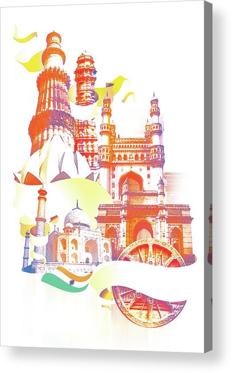 Architectural Feature Acrylic Print featuring the digital art Indian Monuments Collage by Anand Purohit