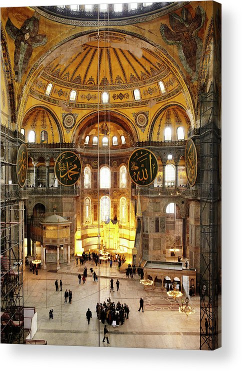 Arch Acrylic Print featuring the photograph Interior Of Hagia Sophia by Silvia Otte