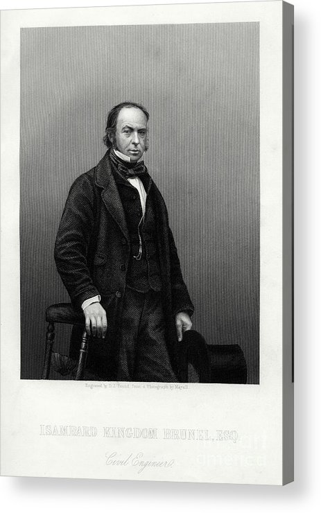 Engraving Acrylic Print featuring the drawing Isambard Kingdom Brunel, British by Print Collector