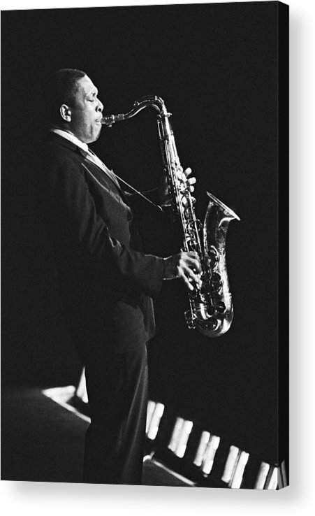 Concert Acrylic Print featuring the photograph John Coltrane In Paris, France In 1963 - by Herve Gloaguen