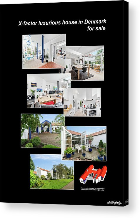 X-factor Luxurious House In Hedensted Acrylic Print featuring the mixed media Lille Fejringhus by Asbjorn Lonvig