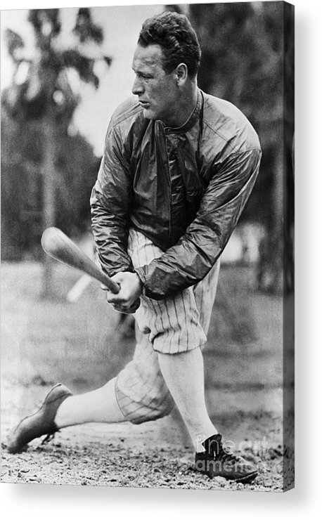 Disbelief Acrylic Print featuring the photograph Lou Gehrig In Jacket Swinging by Bettmann