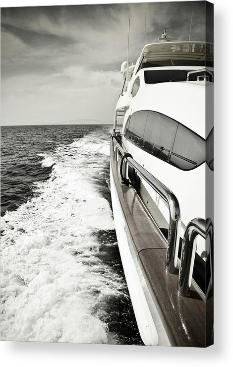Desaturated Acrylic Print featuring the photograph Luxury Yacht Sailing At High Speed In by Petreplesea