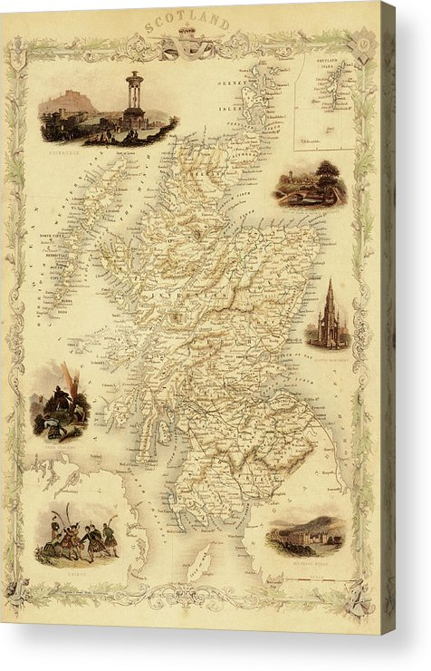 Journey Acrylic Print featuring the digital art Map Of Scotland From 1851 by Nicoolay