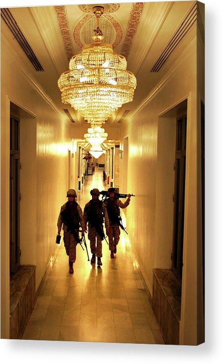 People Acrylic Print featuring the photograph Marines Secure U.s. Embassy In Baghdad by John Moore