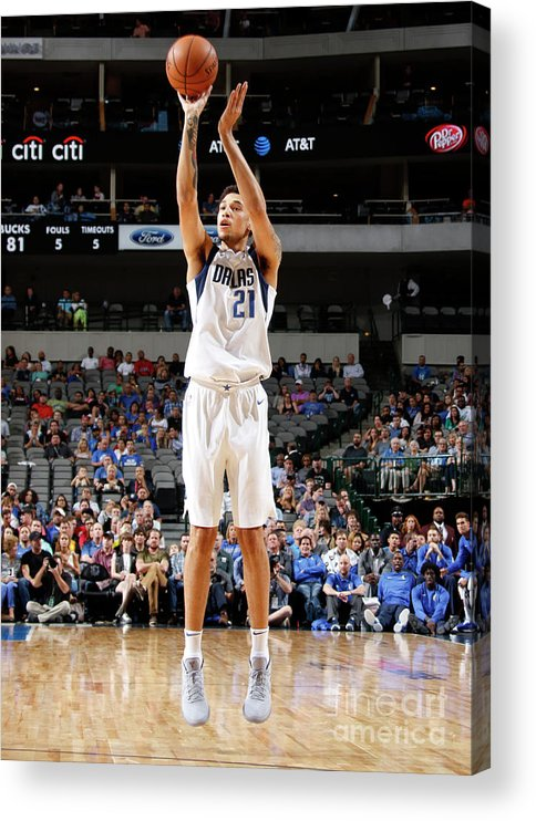 Nba Pro Basketball Acrylic Print featuring the photograph Milwaukee Bucks V Dallas Mavericks by Danny Bollinger