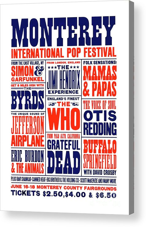 Monterey Pop Festival Acrylic Print featuring the mixed media Monterey Pop Festival, poster by Thomas Pollart