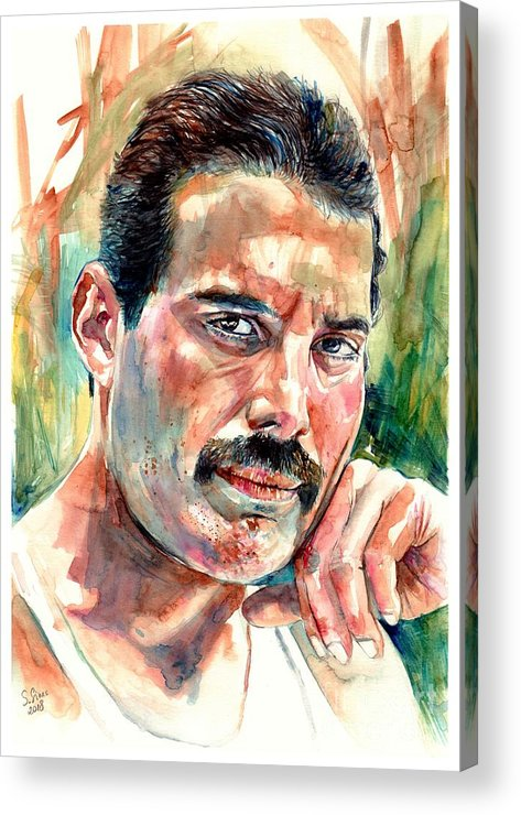 Freddie Mercury Acrylic Print featuring the painting No One But You - Freddie Mercury Portrait by Suzann Sines