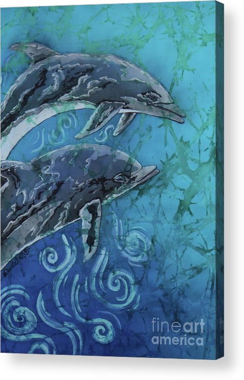 Porpoise Acrylic Print featuring the painting Porpoise Pair - Close Up by Sue Duda