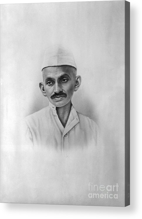 People Acrylic Print featuring the photograph Portrait Of Mahatma Gandhi by Bettmann