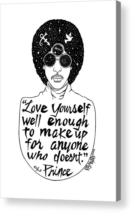 Pen And Ink Illustration Acrylic Print featuring the drawing Prince Drawing by Rick Frausto