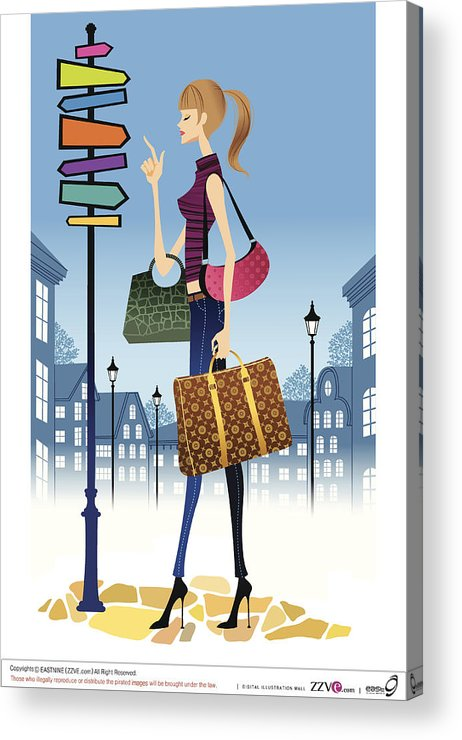 Problems Acrylic Print featuring the digital art Profile Of Woman Standing In Front Of by Eastnine Inc.