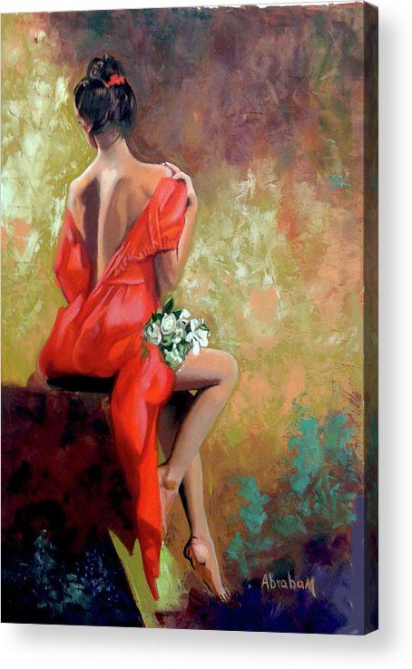 Women Acrylic Print featuring the painting Red Lady 2 by Jose Manuel Abraham