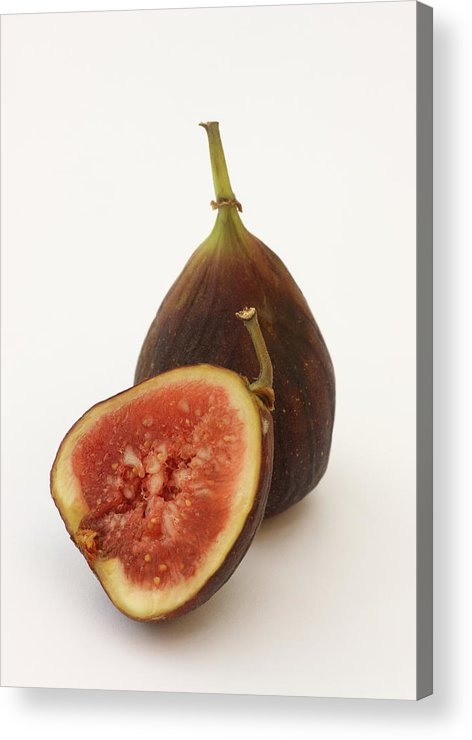 White Background Acrylic Print featuring the photograph Ripe, Fresh Figs On White Background by Rosemary Calvert