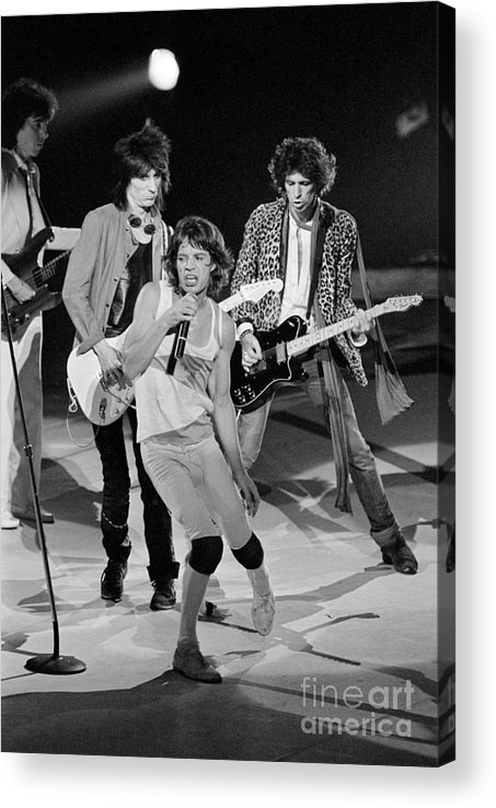 Rock Music Acrylic Print featuring the photograph Rolling Stones Performing At Meadowlands by Bettmann