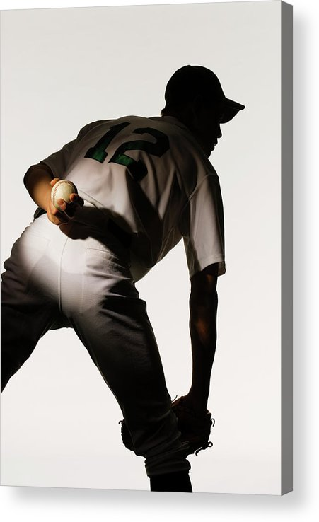 Three Quarter Length Acrylic Print featuring the photograph Silhouette Of Baseball Pitcher Holding by Pm Images