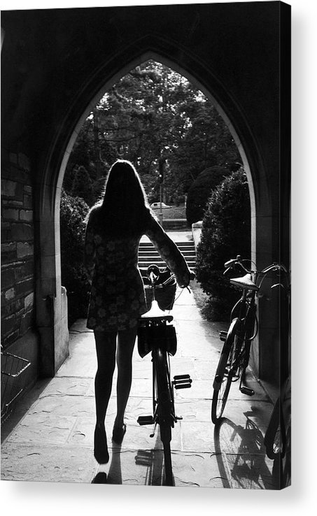 Arch Acrylic Print featuring the photograph Silhouette Of College Co-ed Walking Her by Alfred Eisenstaedt