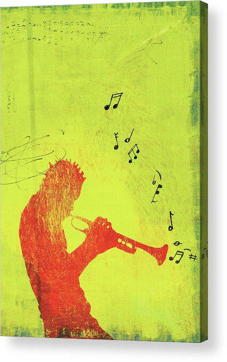 One Man Only Acrylic Print featuring the digital art Silhouette Of Trumpet Player by Darren Hopes