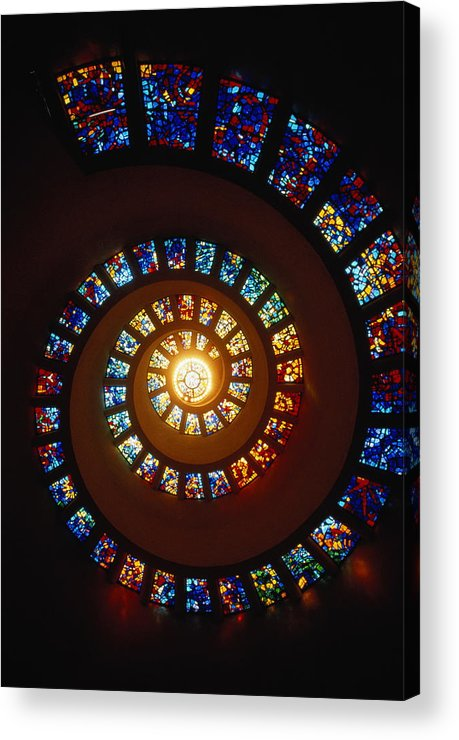 Directly Below Acrylic Print featuring the photograph Stained Glass Window, Thanksgiving by John Elk Iii