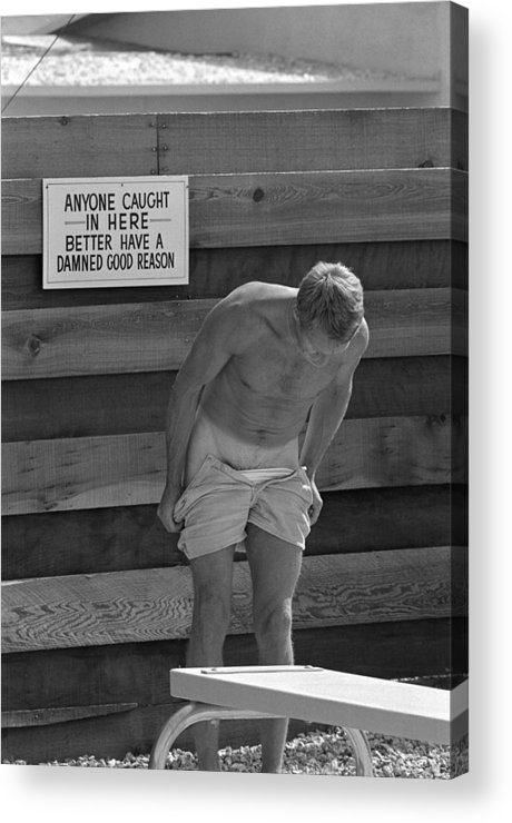 Timeincown Acrylic Print featuring the photograph Steve Mcqueen Undresses Outdoors by John Dominis