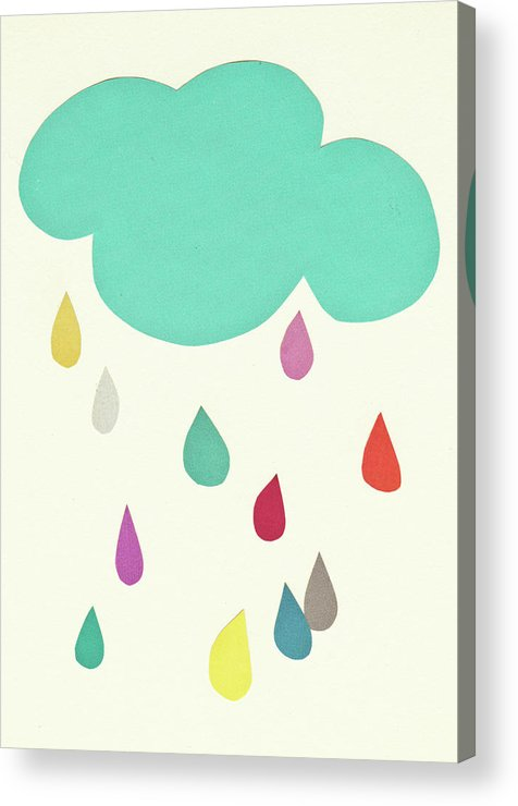 Clouds Acrylic Print featuring the mixed media Sunshine and Showers by Cassia Beck