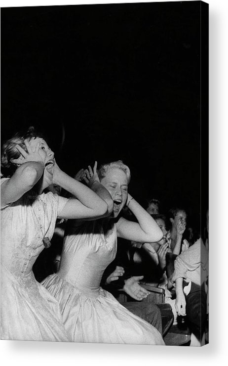 Rock Music Acrylic Print featuring the photograph Teenagers Screaming And Yelling During by Robert W. Kelley