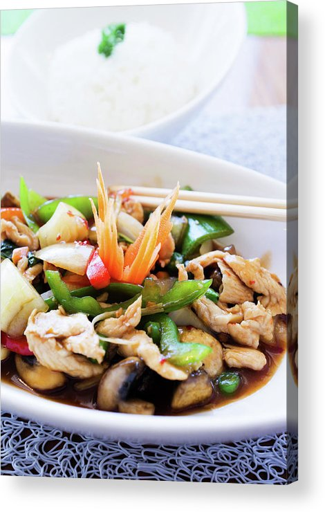 Chicken Meat Acrylic Print featuring the photograph Thai Basil Chicken Dish And Bowl Of by Rapideye