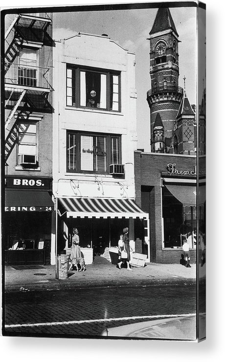 Pedestrian Acrylic Print featuring the photograph The First Offices Of The Village Voice by Fred W. McDarrah