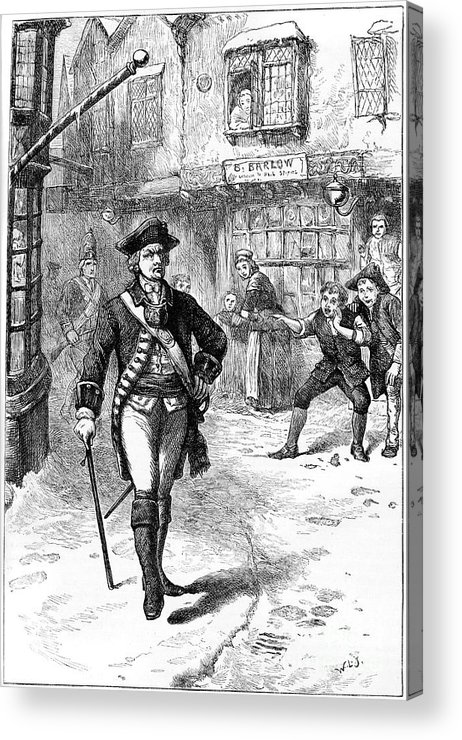 Engraving Acrylic Print featuring the drawing The Officer And The Barbers Boy, 18th by Print Collector