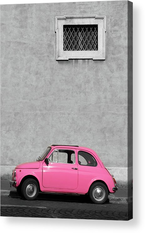 Sparse Acrylic Print featuring the photograph Tiny Pink Vintage Car, Rome Italy by Romaoslo