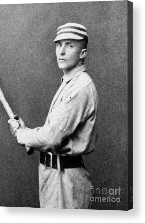 People Acrylic Print featuring the photograph Tommy Mccarthy With Bat by Transcendental Graphics