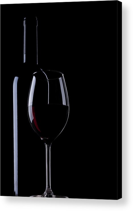 Curve Acrylic Print featuring the photograph Wine Bottle And Glass by Portishead1