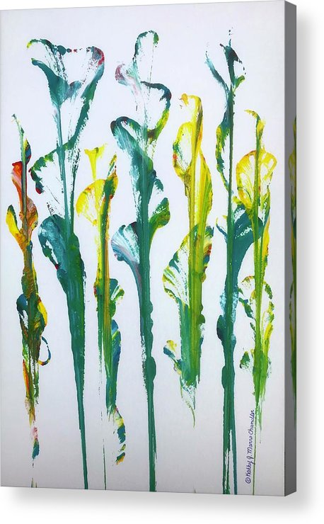Movie Prop Acrylic Print featuring the painting Yellow Blue Lillies by Kathy Marrs Chandler