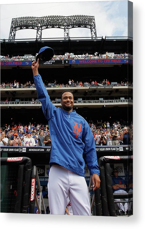 Crowd Acrylic Print featuring the photograph Johan Santana by Mike Stobe