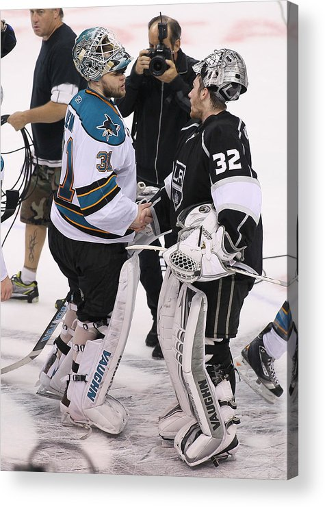 Playoffs Acrylic Print featuring the photograph San Jose Sharks v Los Angeles Kings - Game Seven by Victor Decolongon