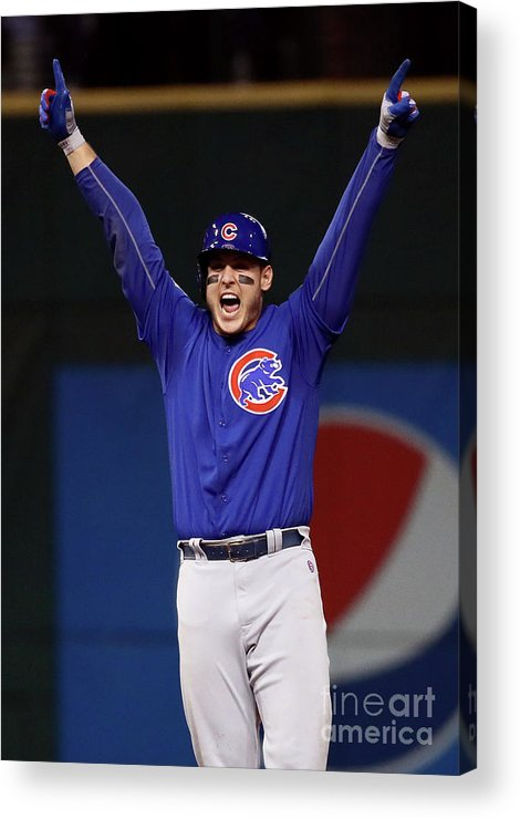 Three Quarter Length Acrylic Print featuring the photograph Anthony Rizzo and Kris Bryant by Ezra Shaw