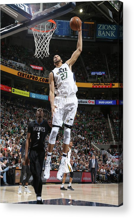 Nba Pro Basketball Acrylic Print featuring the photograph Rudy Gobert by Melissa Majchrzak