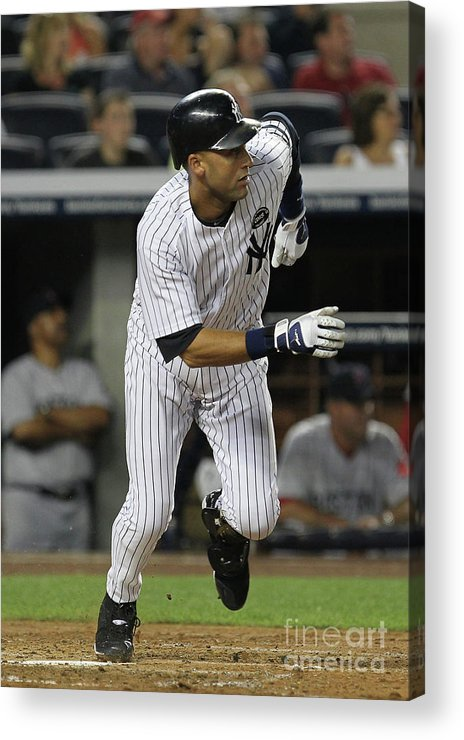 Second Inning Acrylic Print featuring the photograph Derek Jeter and Babe Ruth by Al Bello