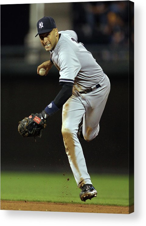 Derek Jeter Acrylic Print featuring the photograph Derek Jeter by Jamie Squire