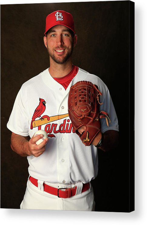 Media Day Acrylic Print featuring the photograph Adam Wainwright by Rob Carr