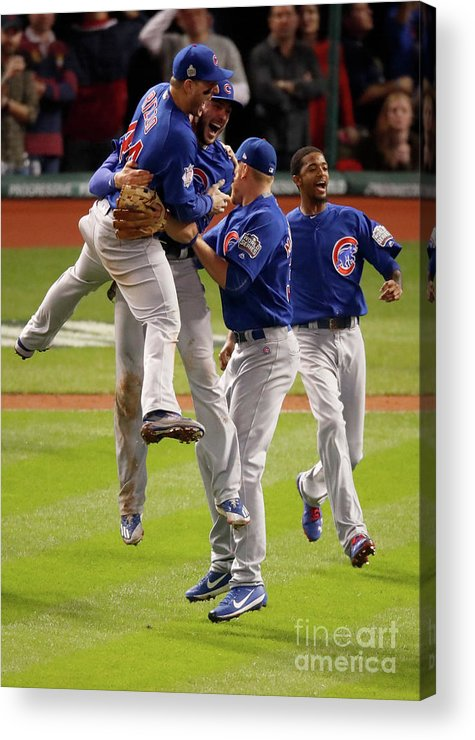 People Acrylic Print featuring the photograph Anthony Rizzo and Kris Bryant by Gregory Shamus