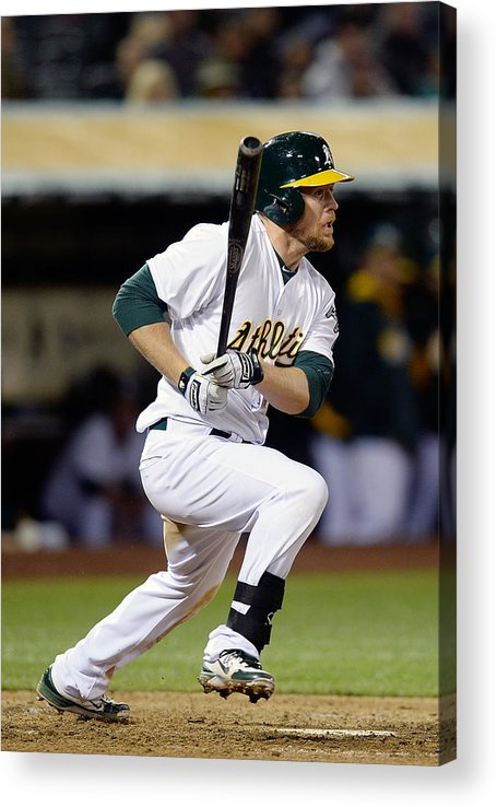 American League Baseball Acrylic Print featuring the photograph Brandon Moss and Josh Donaldson by Thearon W. Henderson
