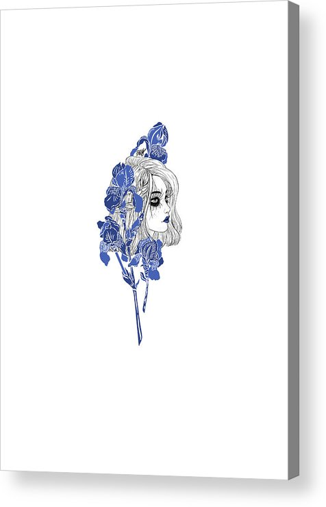 Digital Art Acrylic Print featuring the digital art China girl by Elly Provolo