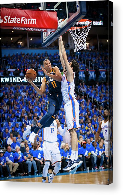 Playoffs Acrylic Print featuring the photograph Dante Exum by Zach Beeker