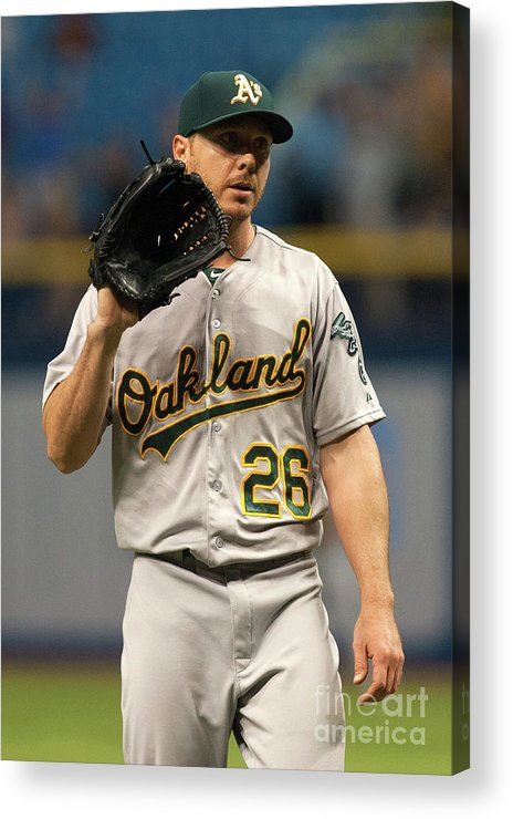 Three Quarter Length Acrylic Print featuring the photograph Evan Longoria and Scott Kazmir by Cliff Mcbride