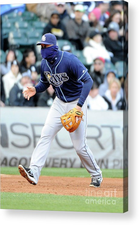 Balaclava Acrylic Print featuring the photograph Evan Longoria by David Banks
