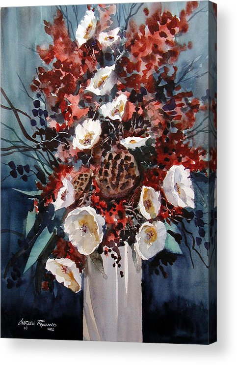 Floral Acrylic Print featuring the painting Floral by Charles Rowland